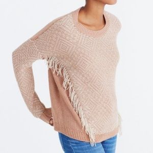 Madewell Sweater Fringed Reverse Diamond Pullover